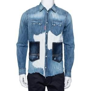 Dsquared2 Blue Denim Button Front Paneled Distressed Shirt S