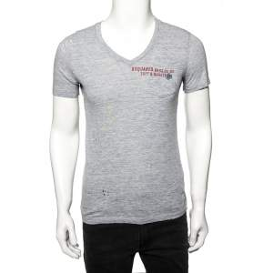 Dsquared2 Grey Cotton Tuff & Rugged Print Signature V-Neck T-Shirt S