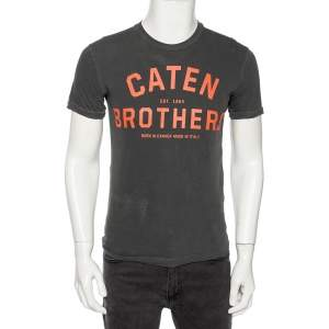 Dsquared2 Grey Canten Brothers Print Dyed Cotton Jersey T-Shirt S
