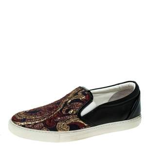 Dsquared2 Black Leather And Brocade Embroidered Fabric Slip On Sneakers Size 40