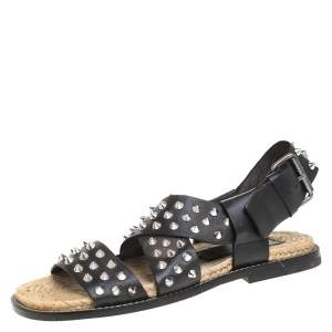 Dsquared2 Black Spiked Leather Cross Ankle Strap Espadrille Flats Size 41