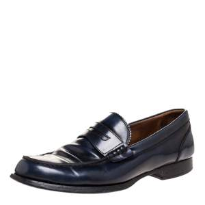 DSquared2 Blue Leather Penny Slip On Loafers Size 41.5