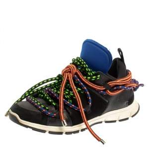 Dsquared2 Black Fabric And Suede Leather Bungy Jump Lace Up Sneakers Size 42