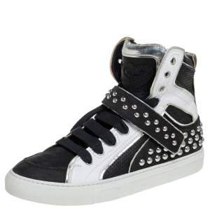Dsquared2 Black/White Leather And Nubuck Studded High Top Sneakers Size 41