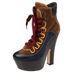 Dsquared2 Multicolor Suede, Leather and Wool Trim Lace Up Platform Ankle Boots Size 38