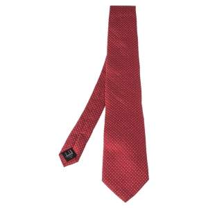 Dunhill Red Dot Patterned Jacquard Silk Tie