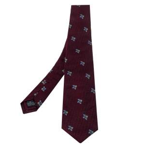 Dunhill Burgundy Floral Jacquard Silk Classic Tie