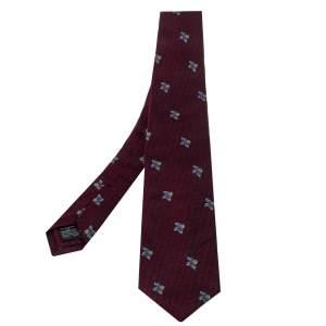 ربطة عنق دنهل حرير جاكار عنابي مورد