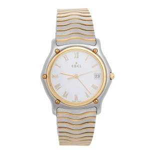 Ebel White 18k Yellow Gold and Two -Tone Stainless Steel Classic Wave 1187141 Men's Wristwatch 35 mm