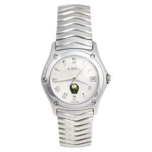 Ebel Silver Stainless Steel Classic Wave UAE NOS E9187 Men's Wristwatch 37 mm