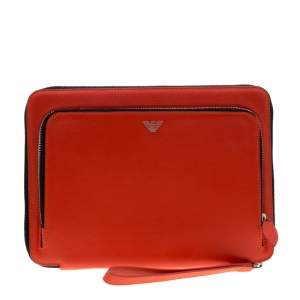 Emporio Armani Coral Orange Leather Zip Around iPad Case