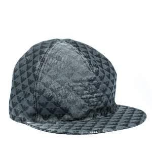 Emporio Armani Slate Grey Logo Patterned Baseball Cap Size L