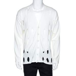 Emporio Armani Off White Cotton Cutout Detail Cardigan XXL