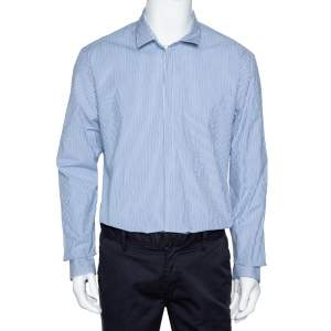 Emporio Armani Blue Striped Cotton Long Sleeve Button Front Shirt XXL