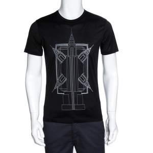Emporio Armani Black Empire State Building Print Cotton T-Shirt M