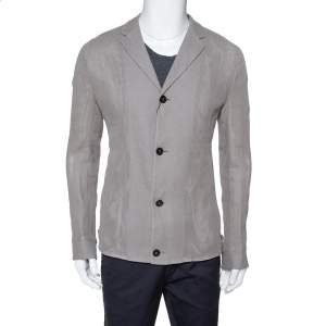 Emporio Armani Grey Linen & Cotton Leno Mesh Jacket XXL