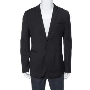 Emporio Armani Black Textured Wool Jacquard Tailored Blazer XXL