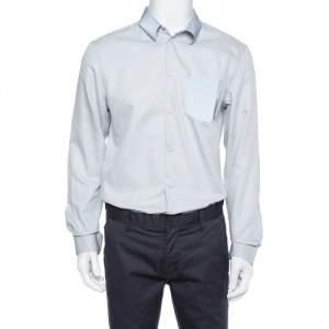 Emporio Armani Grey Textured Cotton Contrast Trim Shirt XL