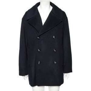 معطف امبوريو أرماني كشمير أزرق كحلي بأزرار مزدوجة مقاس كبير جدًا جدًا جدًا - إكس إكس إكس لارج