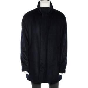 معطف امبوريو أرماني كشمير أزرق كحلي بأزرار فردية مقاس كبير جدًا جدًا جدًا - إكس إكس إكس لارج