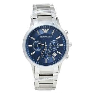 Emporio Armani Blue Stainless Steel Classic Chronograph AR2448 Men's Wristwatch 43 mm