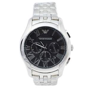 Emporio Armani Black Stainless Steel Classic Chronograph AR1786 Men's Wristwatch 44.50 mm
