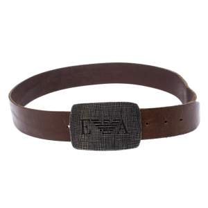 Emporio Armani Brown Leather Logo Buckle Belt 130CM