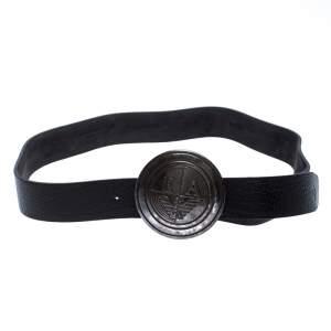 Emporio Armani Black Leather Logo Round Buckle Belt 130CM