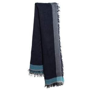 Emporio Armani Denim Blue Modal Wool Scarf