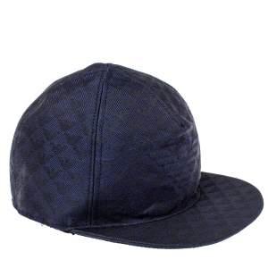 Emporio Armani Navy Blue Monogram Pattern Baseball Cap S