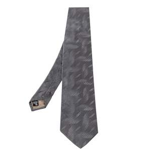 Emporio Armani Grey Textured Silk Traditional Tie