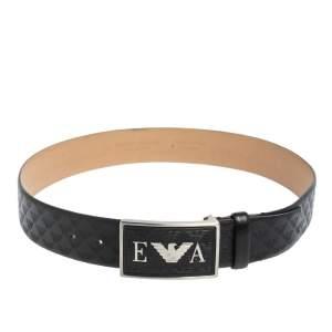 Emporio Armani Black Monogram Leather Buckle Belt Size 48