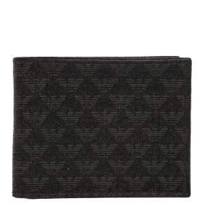 Emporio Armani Black Signature Coated Canvas Bifold Compact Wallet