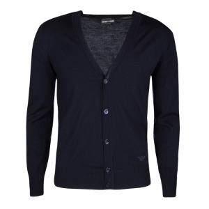 Emporio Armani Navy Blue Wool Ribbed Trim Cardigan S