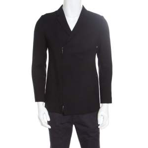 Emporio Armani Black Textured Knit Zip Front Double Breasted Blazer S