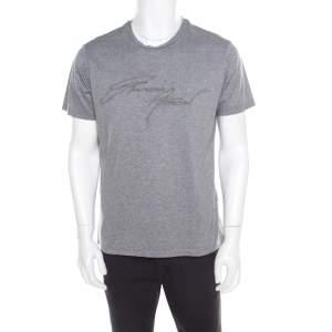Emporio Armani Grey Logo Embroidered Cotton Jersey Crew Neck T-Shirt L