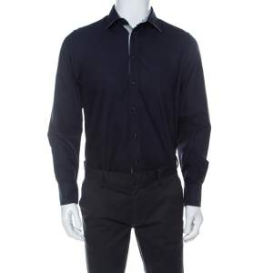 Emporio Armani Navy Blue Cotton Supreme Shirt L