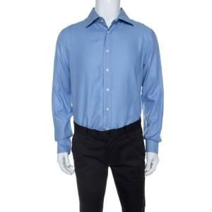 Emporio Armani Blue Rope Striped Pattern Cotton Shirt XL