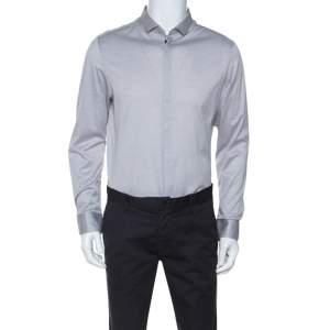 Emporio Armani Grey Knit Button Front Shirt XXL