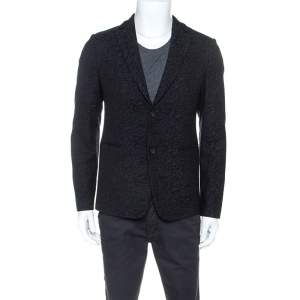 Emporio Armani Black Jacquard Wool Tailored Johnny Line Blazer M