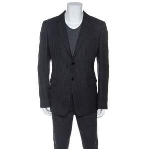 Emporio Armani Black Wool Knit David Line Blazer 3XL