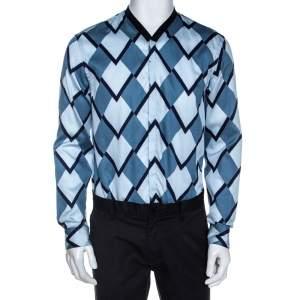 Emporio Armani Blue Geometric Printed Cotton Long Sleeve Shirt M