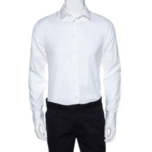 Emporio Armani White Textured Cotton Long Sleeve Shirt L