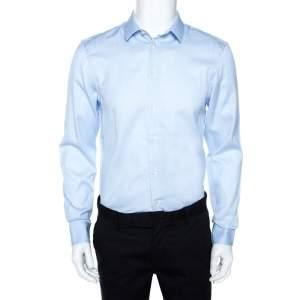 Emporio Armani Light Blue Striped Cotton Long Sleeve Shirt M