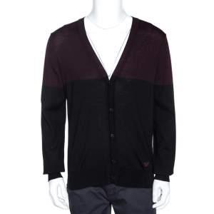 Emporio Armani Bicolor Wool Colorblock Cardigan L