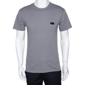 Emporio Armani Grey Cotton Crew Neck Fitted T-Shirt L