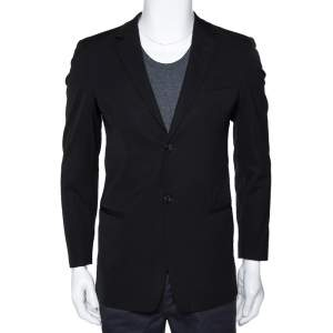 Emporio Armani Black Stretch Wool Sean Line Blazer S