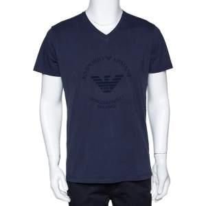 Emporio Armani Navy Blue Logo Borgonuovo Print Cotton T-Shirt XXL