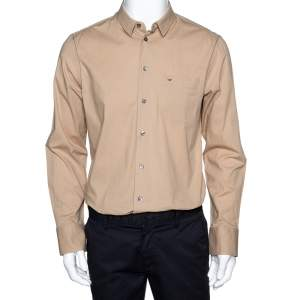 Emporio Armani Beige Stretch Cotton Long Sleeve Shirt XL