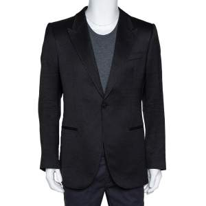 Emporio Armani Black Wool Blend Vincent Line Jacket XXL